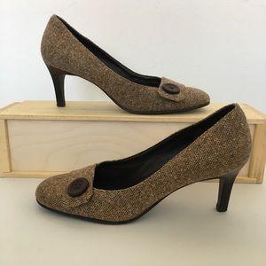 LOFT Brown Houndstooth Heel with round toe